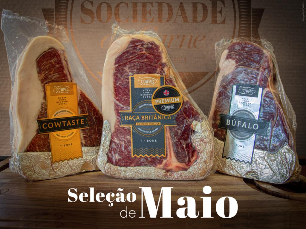 Seleção de carnes nobres composta por três variedades do corte T-Bone, de Angus, Nelore Prime e Búfalo da marca Cowpig